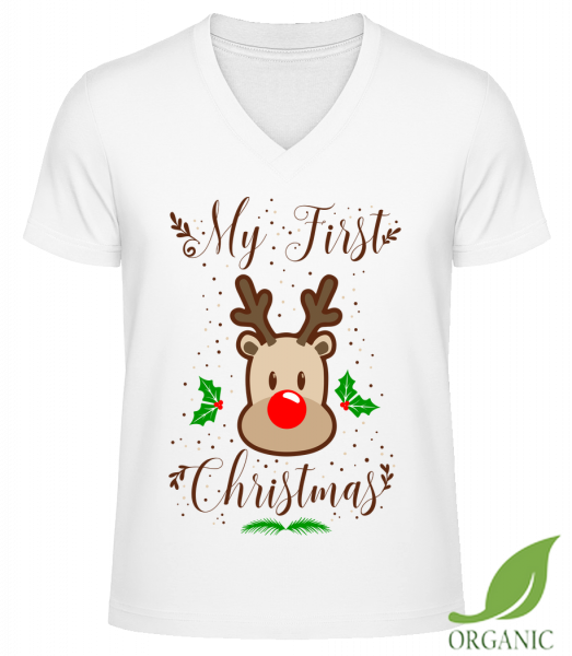 "My First Christmas - ""James"" Organic V-Neck T-Shirt - White - Vorn"