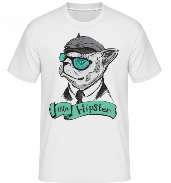 100% Hipster Dog - Shirtinator Men's T-Shirt - White - Vorn