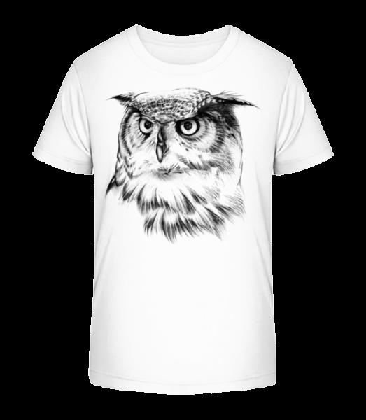 Realistic Owl - Kid's Premium Bio T-Shirt - White - Vorn