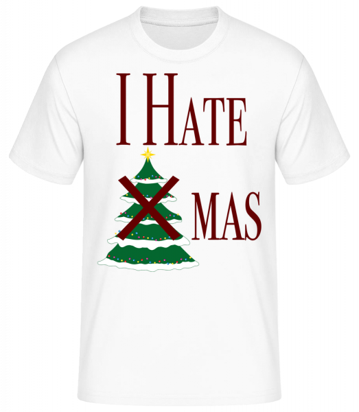 I Hate Xmas - Men's Basic T-Shirt - White - Vorn