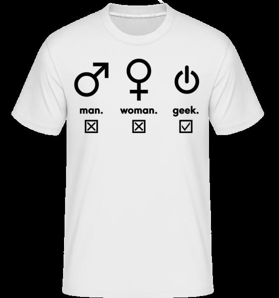 Man Woman Geek Symbols - Shirtinator Men's T-Shirt - White - Vorn