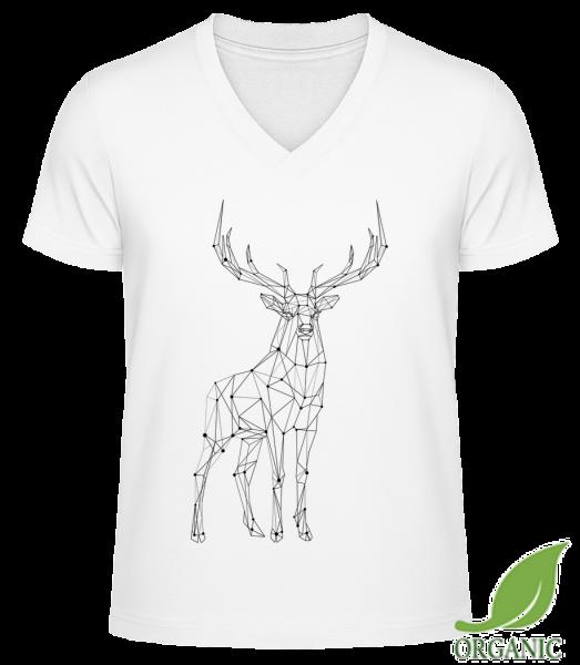 """Polygon Deer - """"James"""" Organic V-Neck T-Shirt - White - Vorn"""