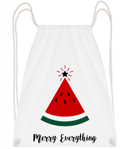 Merry Everything Christmas - Drawstring Backpack - White - Vorn