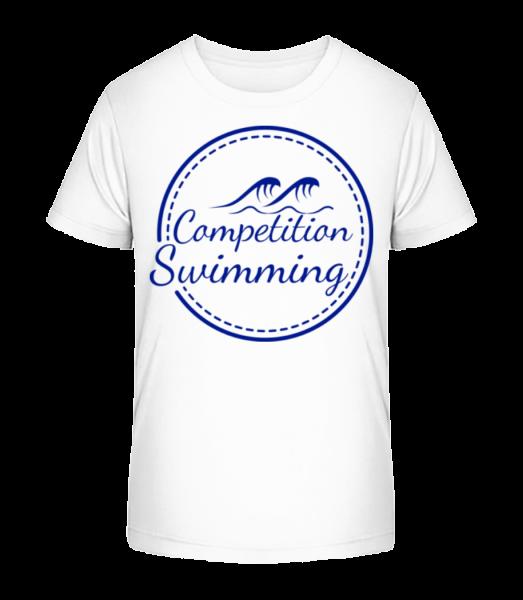 Competition Swimming - Kid's Premium Bio T-Shirt - White - Vorn