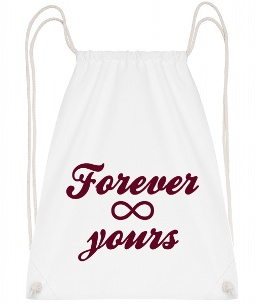 Forever Yours - Drawstring Backpack - White - Vorn