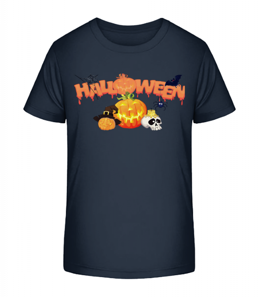 Halloween Pumpkin Rave - Kid's Premium Bio T-Shirt - Navy - Vorn