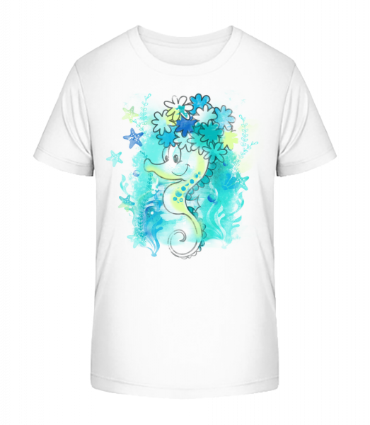 Watercolor Seahorse - Kid's Premium Bio T-Shirt - White - Vorn