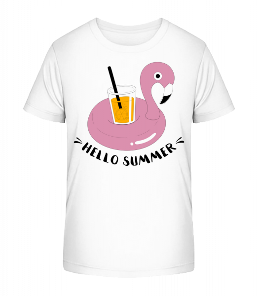 Hello Summer Flamingo - Kid's Premium Bio T-Shirt - White - Vorn