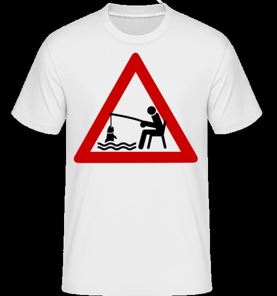 Fishing Warning Sign -  Shirtinator Men's T-Shirt - White - Vorn