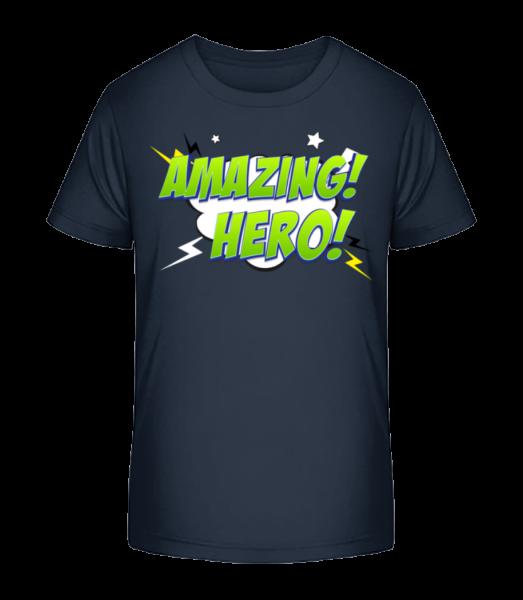 Amazing Hero Icon - Kid's Premium Bio T-Shirt - Navy - Vorn
