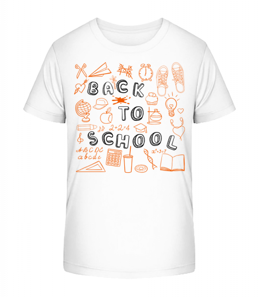 Back To School Symbols - Kid's Premium Bio T-Shirt - White - Vorn