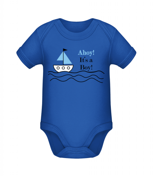 Ahoy! It's A Boy! - Organic Baby Body - Royal blue - Vorn