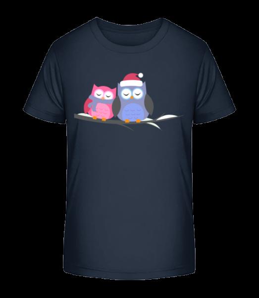 Christmas Owls - Kid's Premium Bio T-Shirt - Navy - Vorn