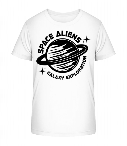 Space Aliens Galaxy Exploration - Kid's Premium Bio T-Shirt - White - Vorn