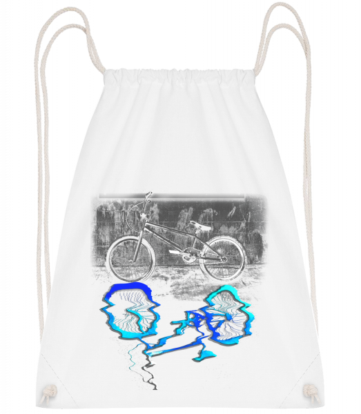 Bicycle Puddle - Drawstring Backpack - White - Vorn