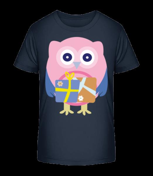 Cute Owl With Presents - Kid's Premium Bio T-Shirt - Navy - Vorn