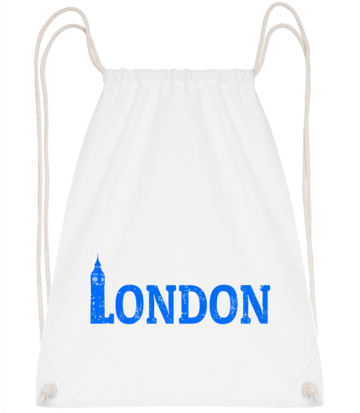 London UK - Drawstring Backpack - White - Vorn