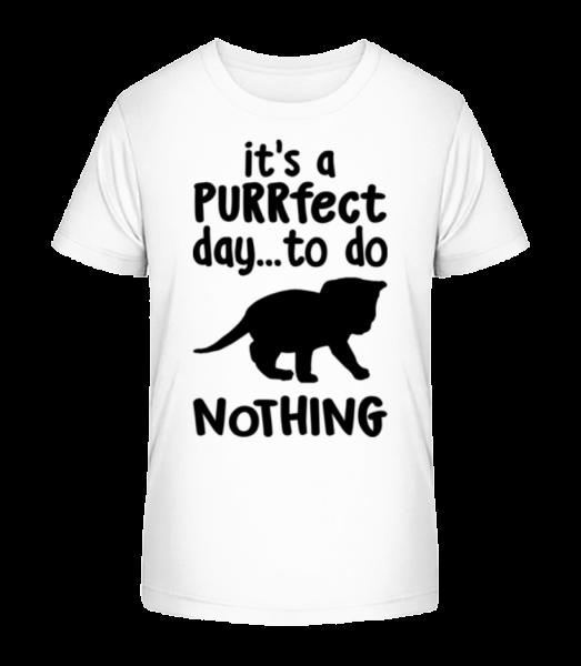 It's A Purrfect Day - Kid's Premium Bio T-Shirt - White - Vorn