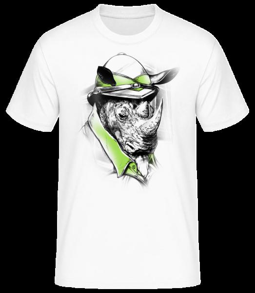 Safari Rhino - Men's Basic T-Shirt - White - Vorn
