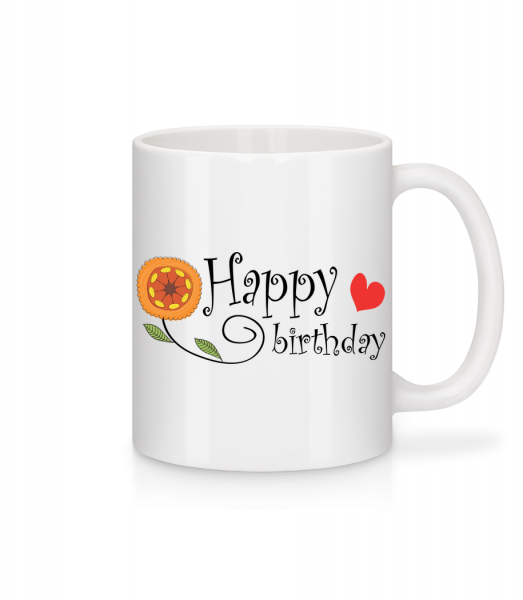 Happy Birthday Flower - Mug - White - Vorn
