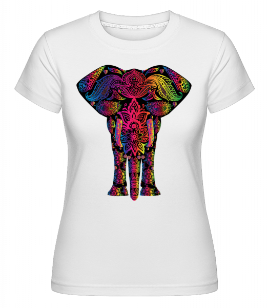 Colorful Elephant -  Shirtinator Women's T-Shirt - White - Vorn