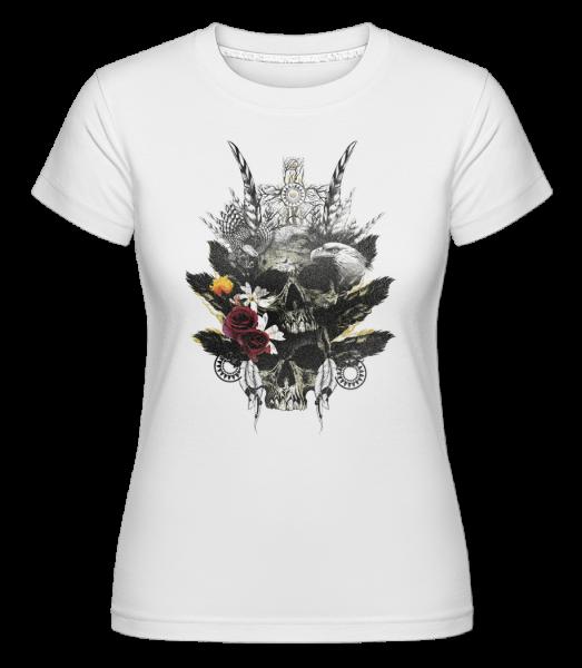 Feather Skulls - Shirtinator Women's T-Shirt - White - Vorn