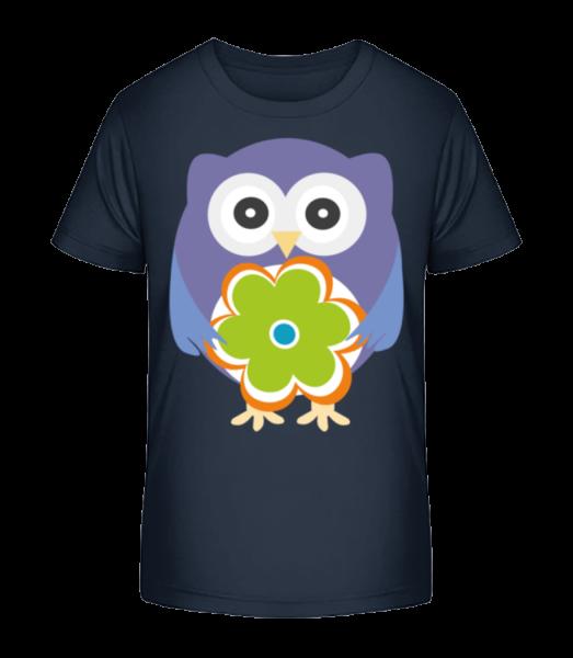 Cute Owl With Flower - Kid's Premium Bio T-Shirt - Navy - Vorn