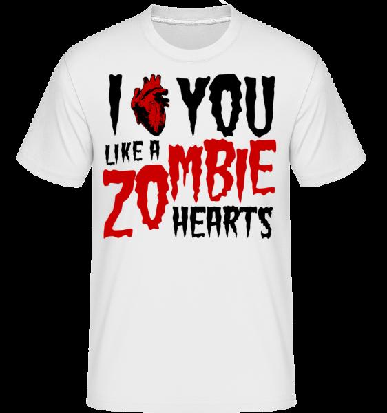 I Like You Like A Zombie Hearts - Shirtinator Men's T-Shirt - White - Vorn