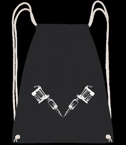 Tattoo Machine Tattoo - Drawstring Backpack - Black - Vorn