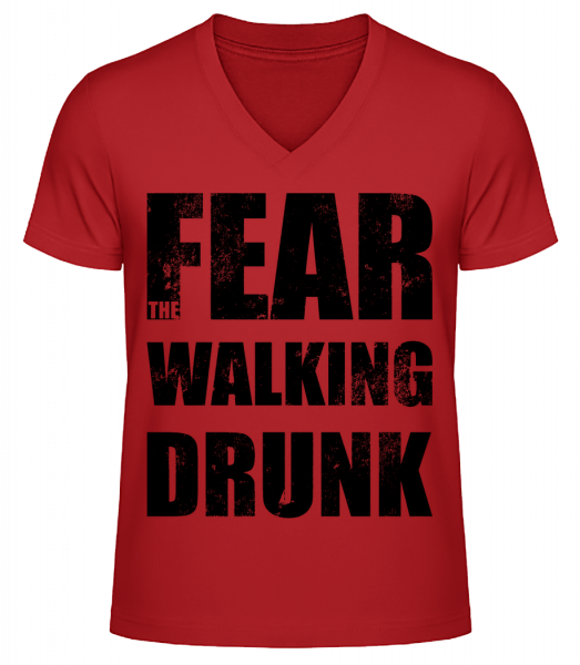 Fear Walking Drunk - Men's V-Neck Organic T-Shirt - Red - Vorn