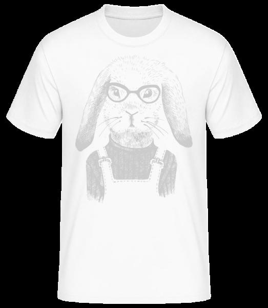 Hipster Rabbit - Men's Basic T-Shirt - White - Vorn