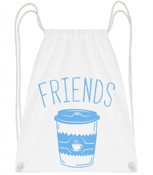 Friends Coffee - Drawstring Backpack - White - Vorn
