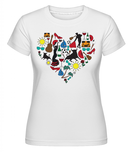 Spain Heart -  Shirtinator Women's T-Shirt - White - Vorn