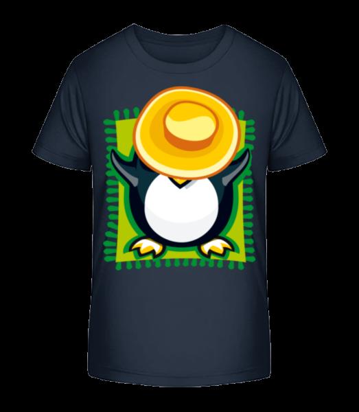 Penguin Sunbath - Kid's Premium Bio T-Shirt - Navy - Vorn