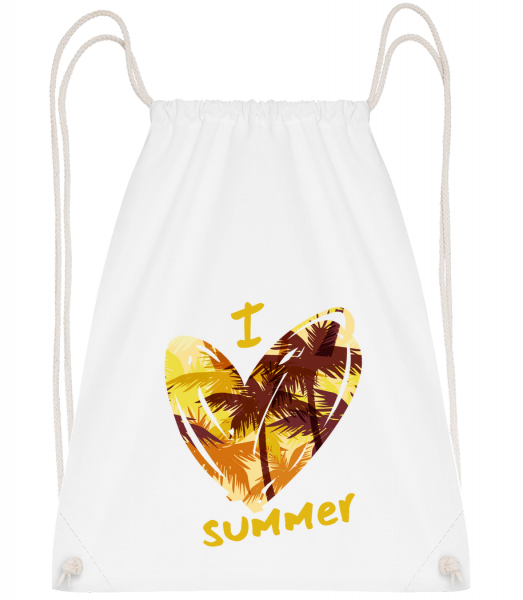 I Love Summer Heart - Drawstring Backpack - White - Vorn