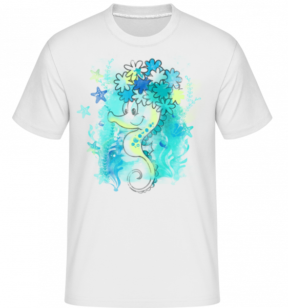 Watercolor Seahorse - Shirtinator Men's T-Shirt - White - Vorn