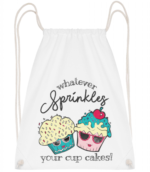 Whatever Sprinkles Your Cup Cake - Drawstring Backpack - White - Vorn