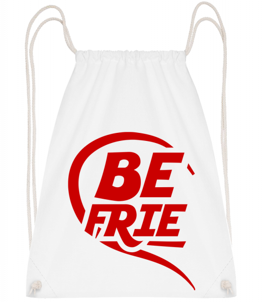 Best Friends - Drawstring Backpack - White - Vorn