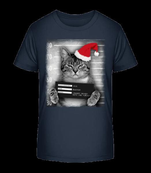 Cat XMas Guilty - Kid's Premium Bio T-Shirt - Navy - Vorn