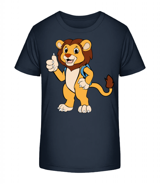 Cute Lion With Bag - Kid's Premium Bio T-Shirt - Navy - Vorn