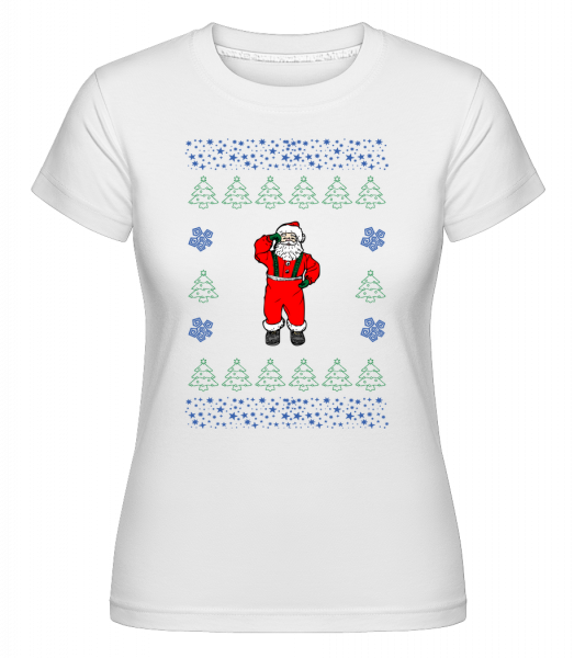 Santa Knitting Pattern -  Shirtinator Women's T-Shirt - White - Vorn