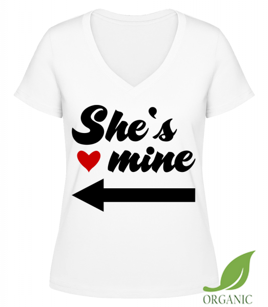 "She Is Mine - ""Janet"" Organic V-Neck T-Shirt - White - Vorn"