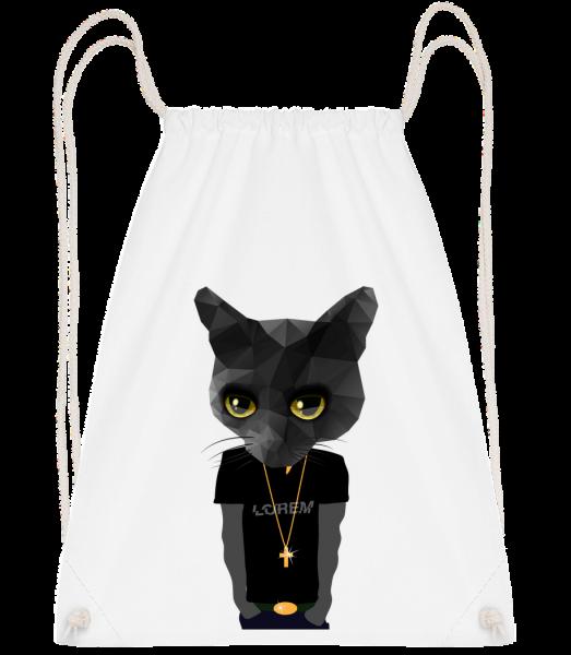 Polygon Gangsta Cat - Drawstring Backpack - White - Vorn