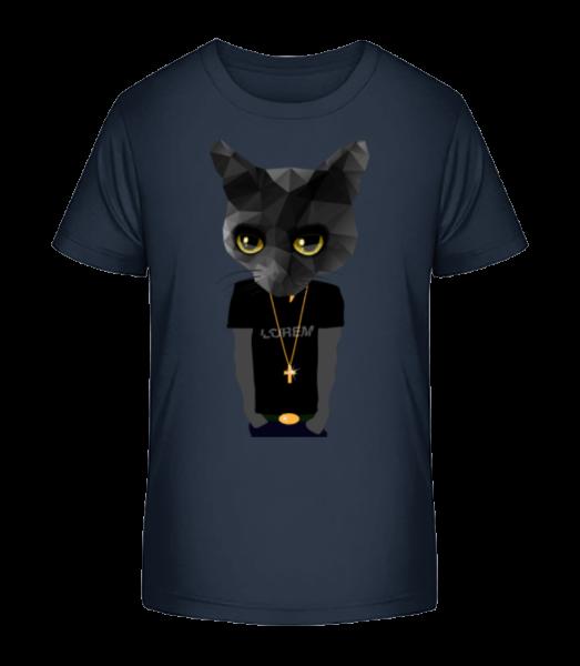 Polygon Gangsta Cat - Kid's Premium Bio T-Shirt - Navy - Vorn