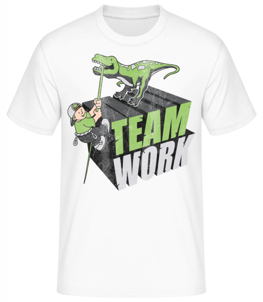 Dinosaur Teamwork - Basic T-Shirt - White - Vorn