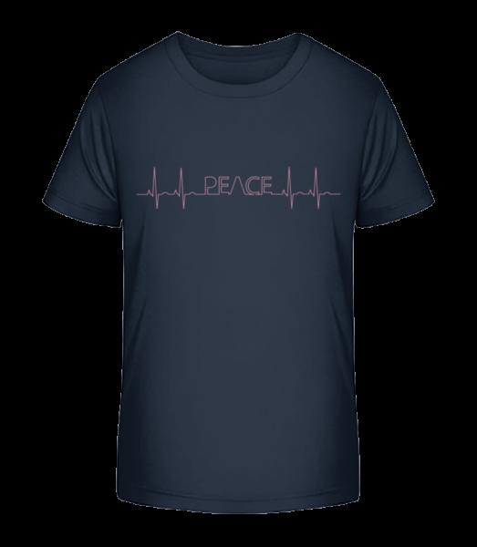 Peace Heartbeat - Kid's Premium Bio T-Shirt - Navy - Vorn