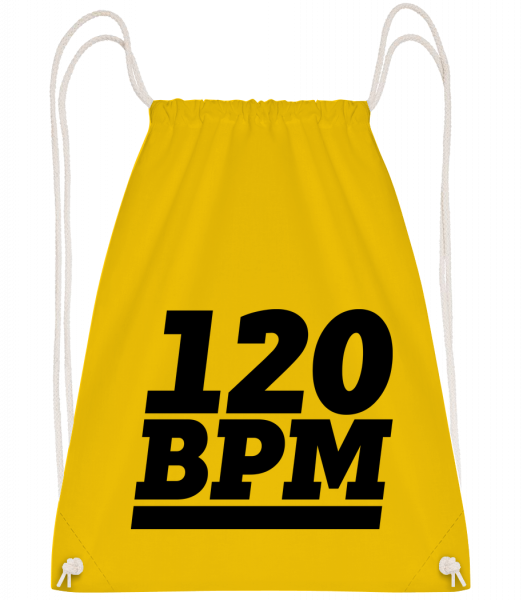 120 BPM Logo - Drawstring Backpack - Yellow - Vorn