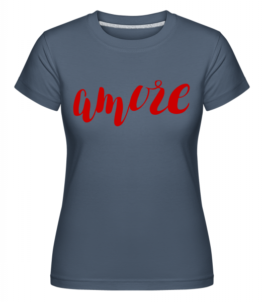 Amore Logo Red -  Shirtinator Women's T-Shirt - Denim - Vorn