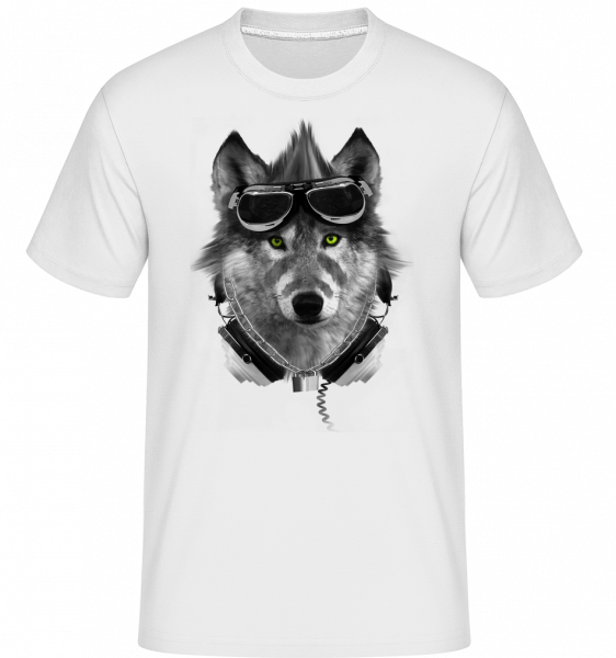 Biker Wolf - Shirtinator Men's T-Shirt - White - Vorn