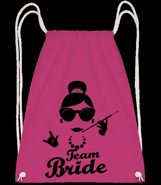 Team Bride - Drawstring Backpack - Magenta - Vorn